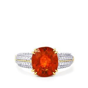 Mandarin Garnet Ring with Diamond in 18K Gold 6.03cts
