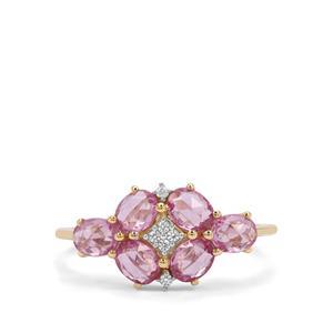 Rose Cut Pink Sapphire & White Zircon 9K Gold Ring ATGW 1.67cts