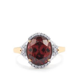 Zanzibar Zircon & Diamond 18K Gold Lorique Ring MTGW 6cts