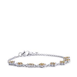 1.44ct Yellow Tourmaline Sterling Silver Bracelet