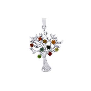 Rainbow Tourmaline Pendant in Sterling Silver 1.26cts