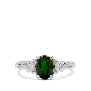 Chrome Diopside & White Zircon Sterling Silver Ring ATGW 1.48cts