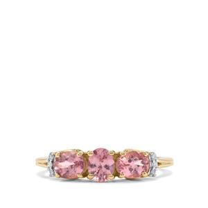 Mahenge Pink Spinel & Diamond 9K Gold Ring ATGW 1.08cts
