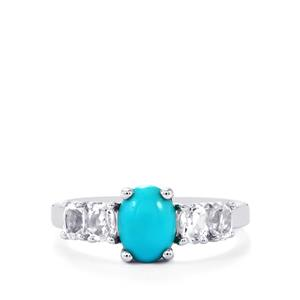 Sleeping Beauty Turquoise Ring with White Topaz in Sterling Silver 1.92cts