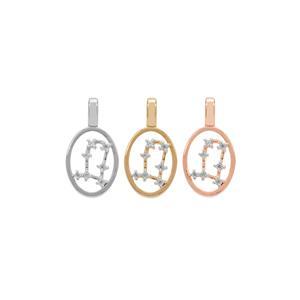 0.15ct Ratanakiri Zircon Sterling Silver Gemini Pendant  (Choice of Three Metal Colors)