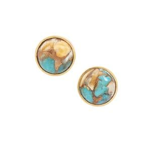 Oyster Copper Mojave Turquoise Earrings in Gold Plated Sterling Silver 3.75cts