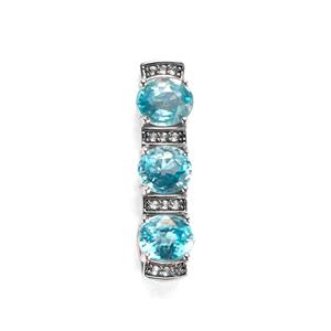 Ratanakiri Blue Zircon Pendant with White Topaz in Sterling Silver 3.03cts