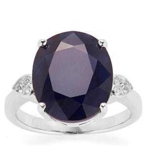 Madagascan Blue Sapphire Ring with White Topaz in Sterling Silver 9.59cts