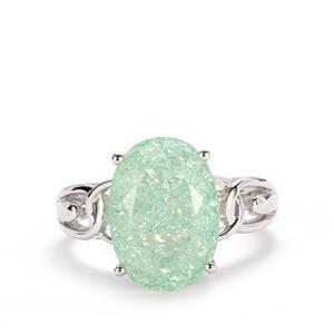5.73ct Green Crackled Quartz Sterling Silver Ring
