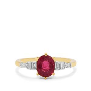 Nigerian Rubellite & Diamond 18K Gold Tomas Rae Ring MTGW 1.21cts