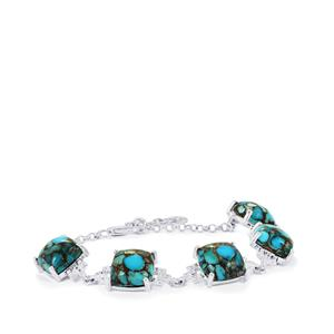 Egyptian Turquoise Bracelet with White Topaz in Sterling Silver 27cts