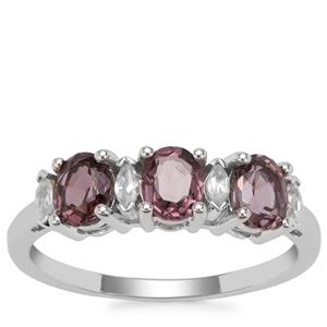 Burmese Pink Spinel Ring with White Zircon in 9K White Gold 1.44cts