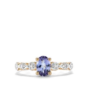 AA Tanzanite Ring with Diamond in 10K Gold 0.76cts