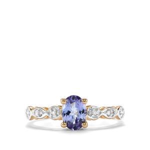 AA Tanzanite & Diamond 9K Gold Ring ATGW 0.76cts