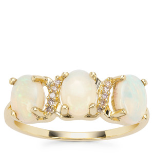 Coober Pedy Opal Ring with Champagne Diamond in 9K Gold 1.40cts