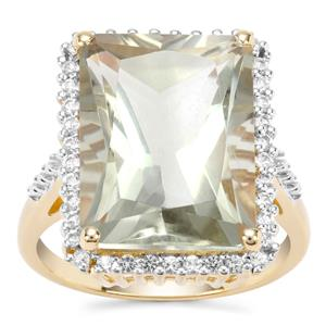 Prasiolite Ring with White Topaz in Gold Plated Sterling Silver 11.11cts