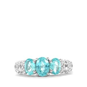 Madagascan Blue Apatite & White Topaz Sterling Silver Ring ATGW 1.89cts