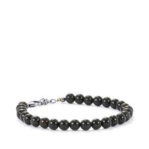 Black Onyx Bead Bracelet in Sterling Silver 43cts
