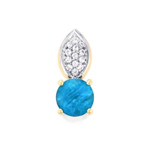 Neon Apatite Pendant with White Zircon in 9K Gold 0.56cts
