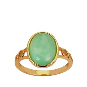 Chrysoprase Ring in Gold Tone Sterling Silver 3cts