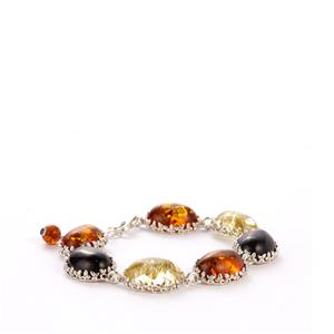 Baltic Cognac, Cherry & Champagne Amber Sterling Silver Bracelet