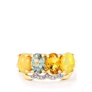 Harlequin Stacker Ring with Diamond in 10k Gold 2.70cts