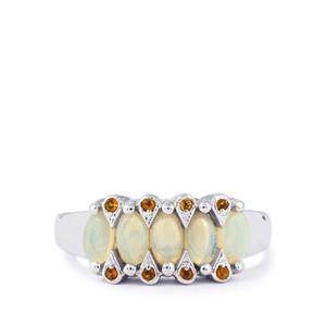 Coober Pedy Jelly Opal & Rio Golden Citrine Sterling Silver Ring ATGW 0.76cts
