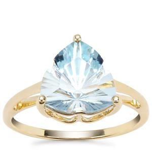Lehrer Infinity Cut Sky Blue Topaz Ring in 9K Gold 4.07cts