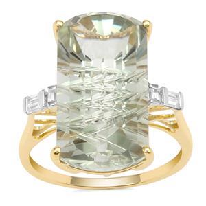 Lehrer Matrix Cut Prasiolite Ring with White Zircon in 9K Gold 10.90cts