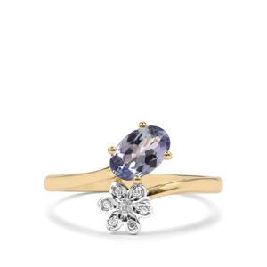 Bi Colour Tanzanite & Diamond 10K Gold Ring ATGW 0.81cts