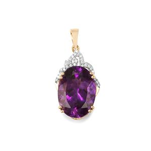 Moroccan Amethyst Pendant with Diamond in 18K Gold 10.79cts