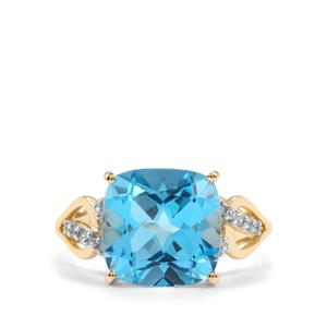 Swiss Blue Topaz Ring with White Zircon in 10K Gold 7.02cts