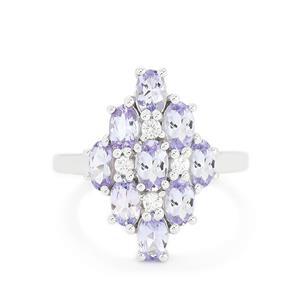 Tanzanite & White Topaz Sterling Silver Ring ATGW 2.14cts