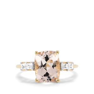 Alto Ligonha Morganite Ring with White Zircon in 10K Gold 2.98cts