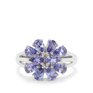AA Tanzanite Ring in Platinum Plated Sterling Silver 2.05cts