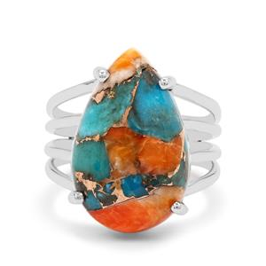 Oyster Copper Mojave Turquoise Ring in Sterling Silver 11.50cts