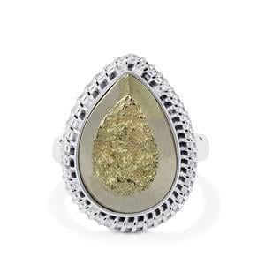 Drusy Pyrite Ring in Sterling Silver 21cts