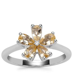 Ouro Preto Imperial Topaz Ring with White Topaz in Sterling Silver 1.13cts
