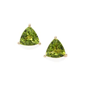 Changbai Peridot Earrings in 10K Gold 3.59cts