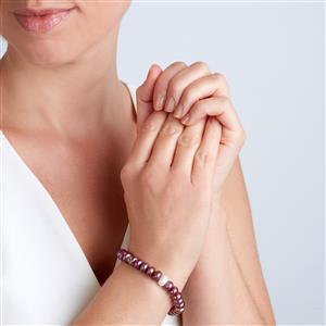 Kaori Cultured Pearl Elasticated Bracelet in Sterling Silver (8 x 6mm)