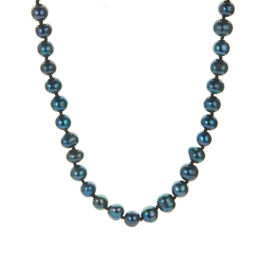 Midnight Blue Kaori Cultured Pearl Necklace in Sterling Silver (6.5mm)