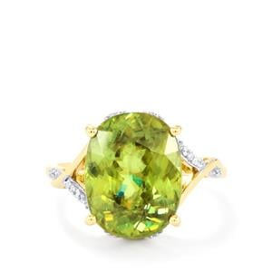 Ambilobe Sphene Ring with Diamond in 18k Gold 7.94cts