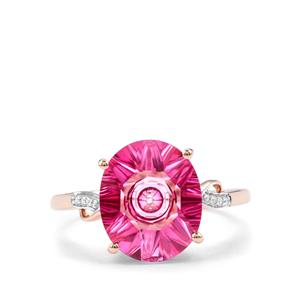 Lehrer QuasarCut Pink Topaz & Diamond 10K Rose Gold Ring ATGW 4.43cts
