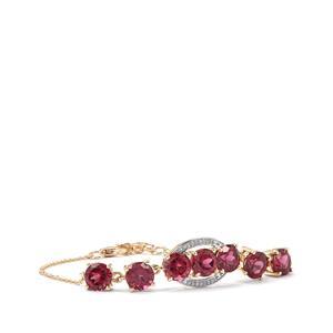 Mahenge Garnet & Diamond 10K Gold Tomas Rae Bracelet ATGW 7.74cts