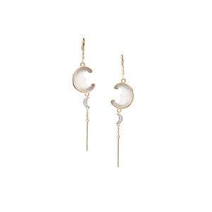 Lehrer Man in the Moon Optic Quartz & Diamond 9K Gold Earrings ATGW 8.15cts