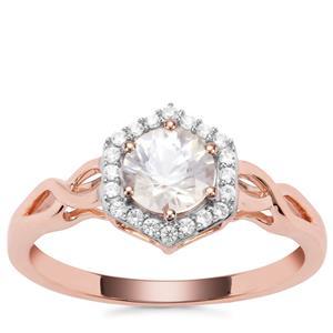 Singida Tanzanian Zircon Ring with White Zircon in 9K Rose Gold 1.13cts