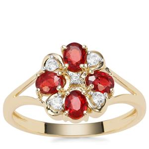 Songea Ruby Ring with White Zircon in 9K Gold 1.06cts