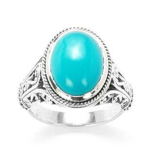 Samuel B Sleeping Beauty Turquoise Sterling Silver Ring 4cts