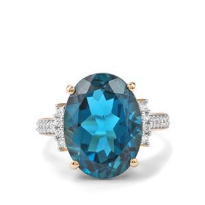 Marambaia London Blue Topaz Ring with White Zircon in 10K Gold 12cts