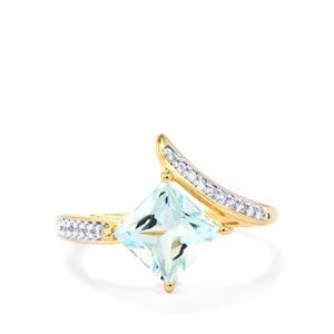 Pedra Azul Aquamarine & White Zircon 9K Gold Ring ATGW 1.64cts